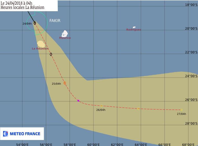 Prévision trajectoire et intensité de la FTT FAKIR à 4h ©Météo France