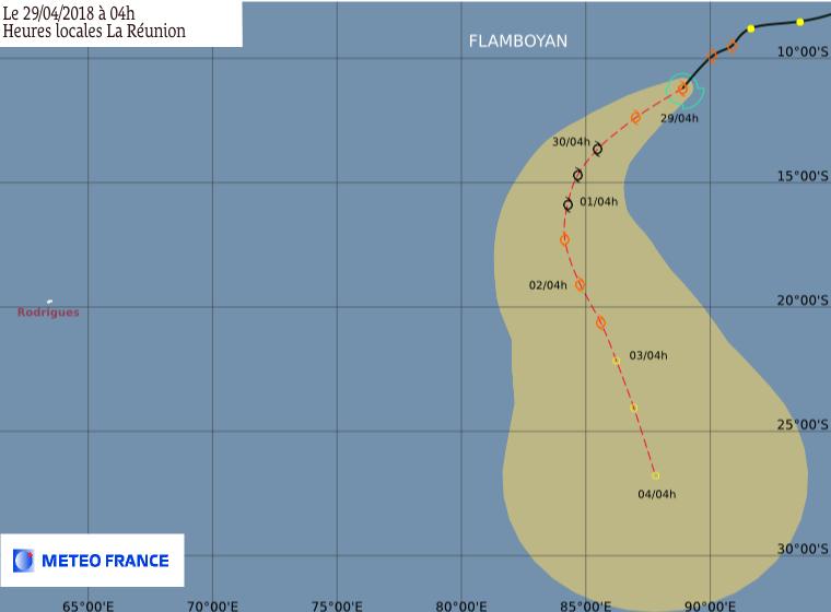 Prévision intensité et trajectoire de la tempête FLAMBOYAN ©CMRS de la Réunion