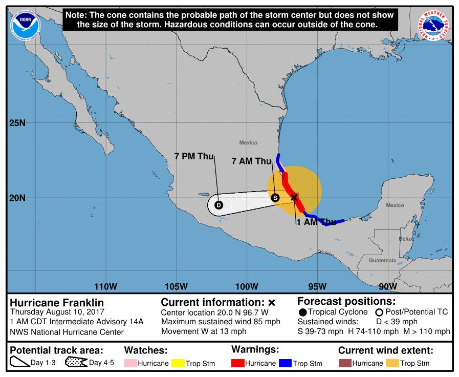 Ouragan Franklin : Prévisions de trajectoire et intensité du NHC à 06z