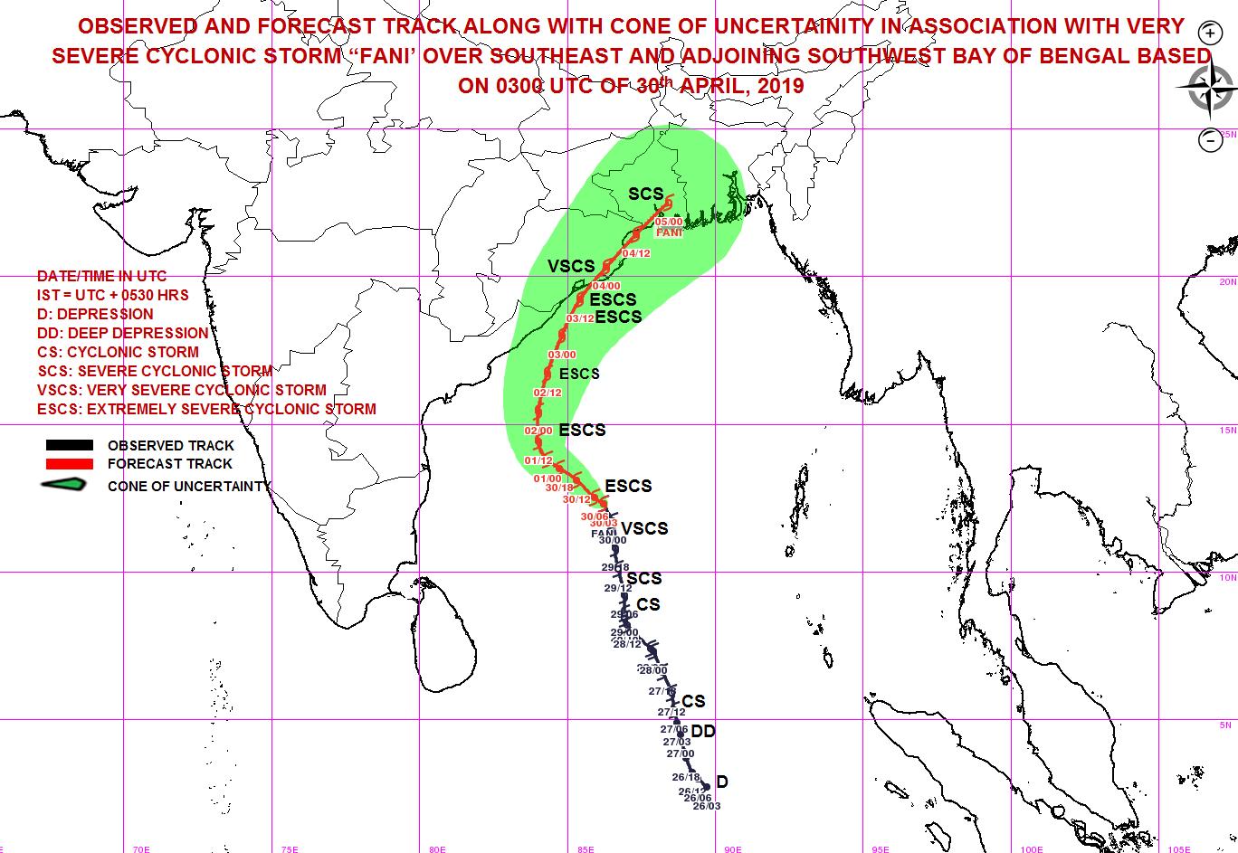 Prévision trajectoire cyclone FANI