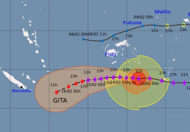 Prévision trajectoire et intensité du cyclone GITA (Météo France N. Caledonie)
