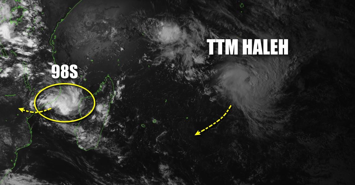 tempête tropicale Haleh et la zone suspecte 98s