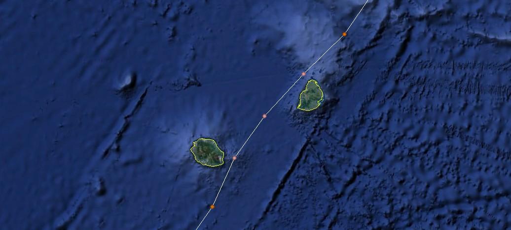 Trajectoire du cyclone tropical Hollanda au plus près de Maurice et la Réunion (NOAA)