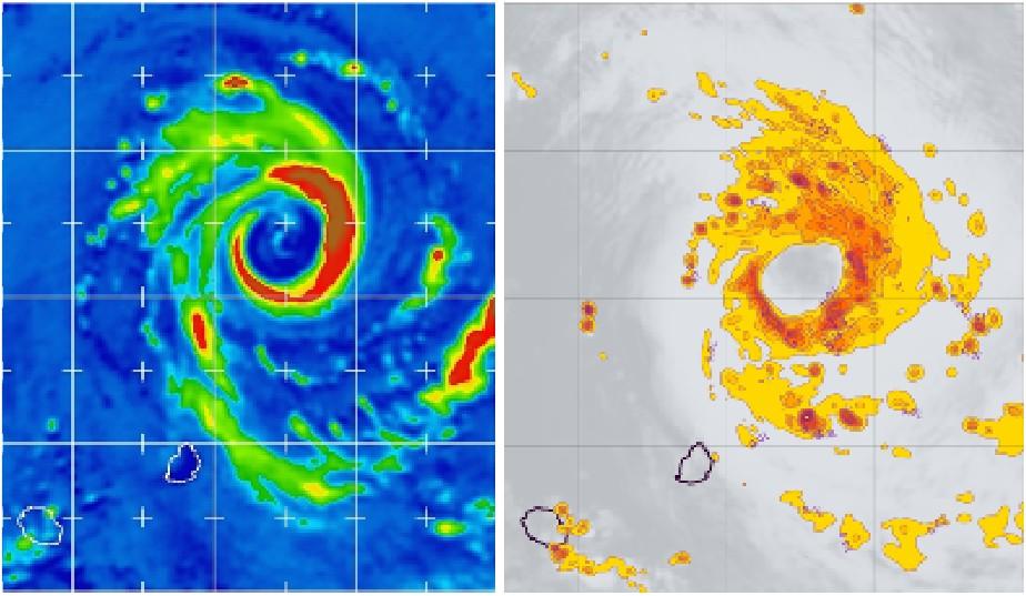 Distribution spatiale du grésil (graupel) dans le cyclone BANSI simulée par arome Indien et observée par satellite le 14 janvier 2015 à 00 (image Météo France)