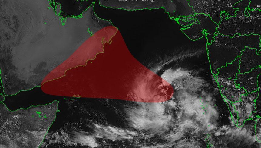 Future tempête LUBAN : Zone potentiellement à risque ©IMD