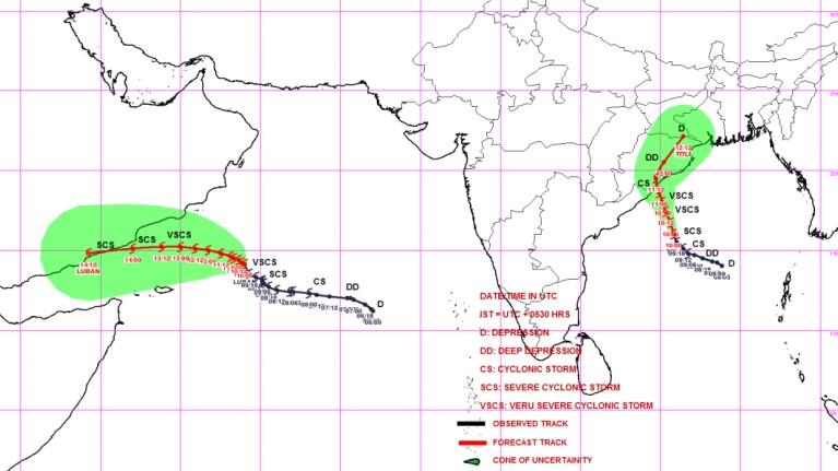 Trajectoire des cyclones LUBAN et TITLI ©IMD