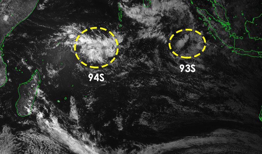 Zones suspectes 93s et 94s sous surveillance dans l'océan indien