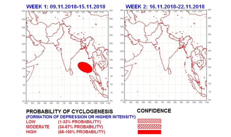 Risque de cyclogenèse dans le Golfe du Bengale