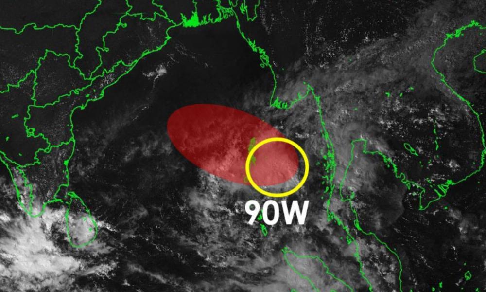 Zone suspecte 90W dans le Golfe du Bengale