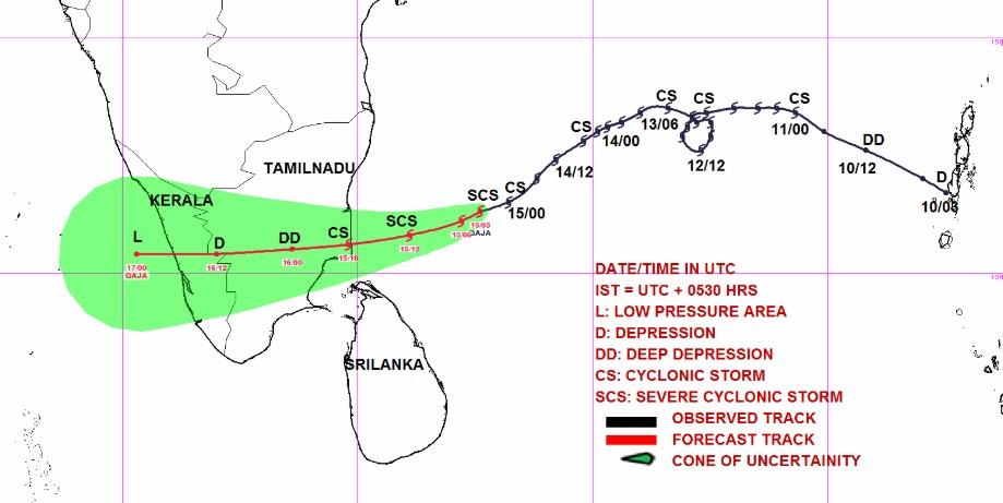 Prévision trajectoire tempête tropicale GAJA