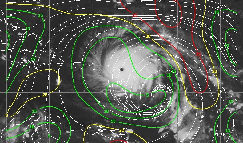 Etat du cisaillement autour de l'ouragan IRMA (CIMSS)