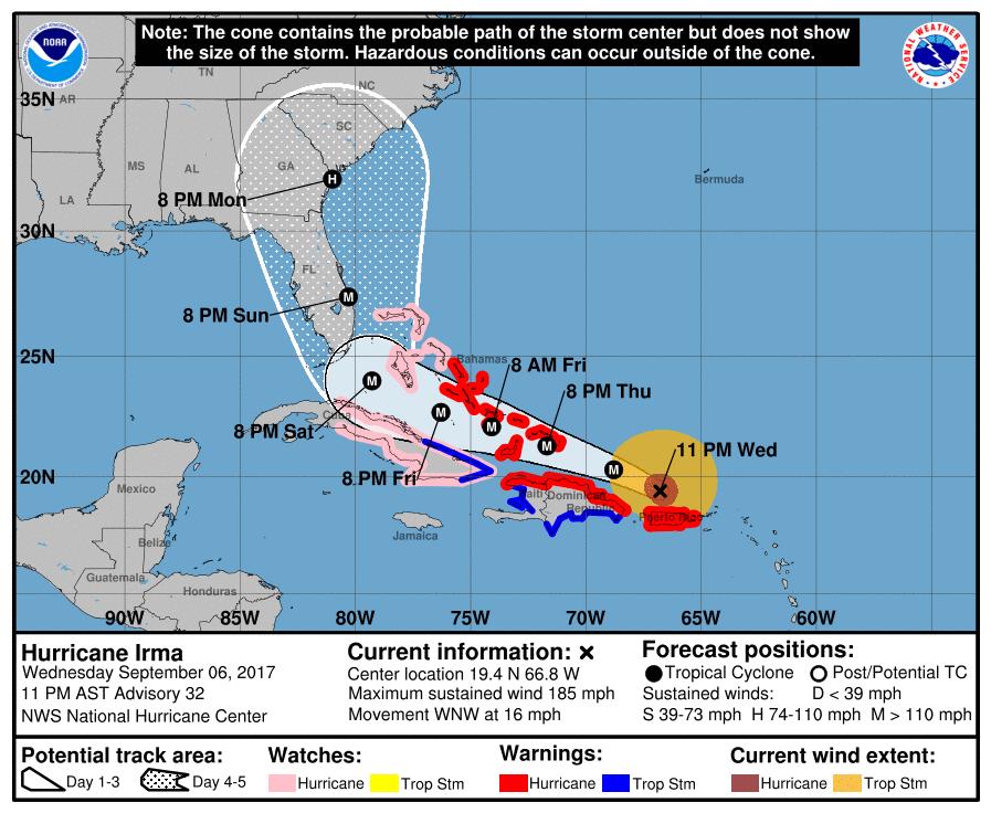 Dernière prévision du NHC concernant l'ouragan IRMA