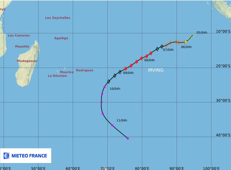 Trajectoire complète du cyclone IRVING (Météo France)