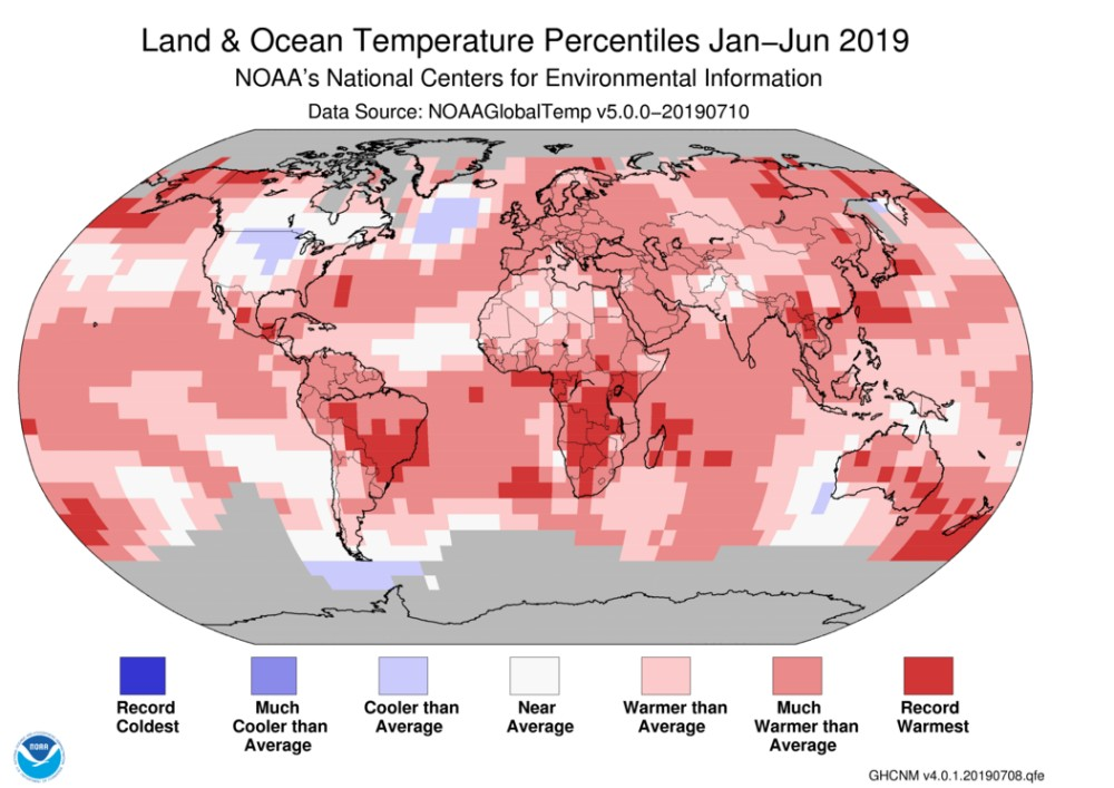 January june 2019 global temperature percentiles map