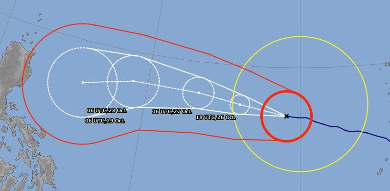 Prévision trajectoire typhon Yutu du JMA