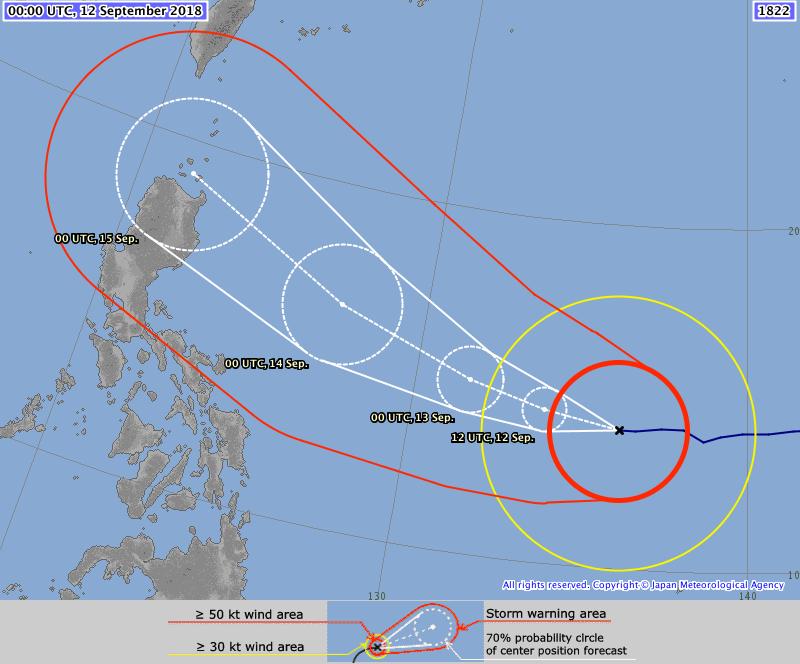 Prévision trajectoire typhon MANGKHUT ©JMA