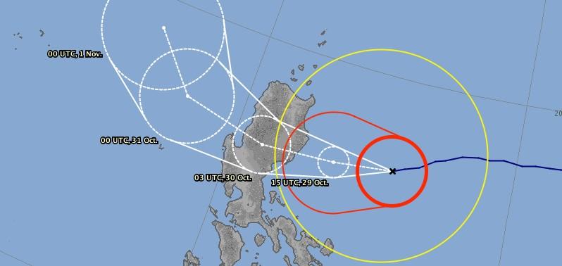 Prévisions trajectoire typhon YUTU ©JMA