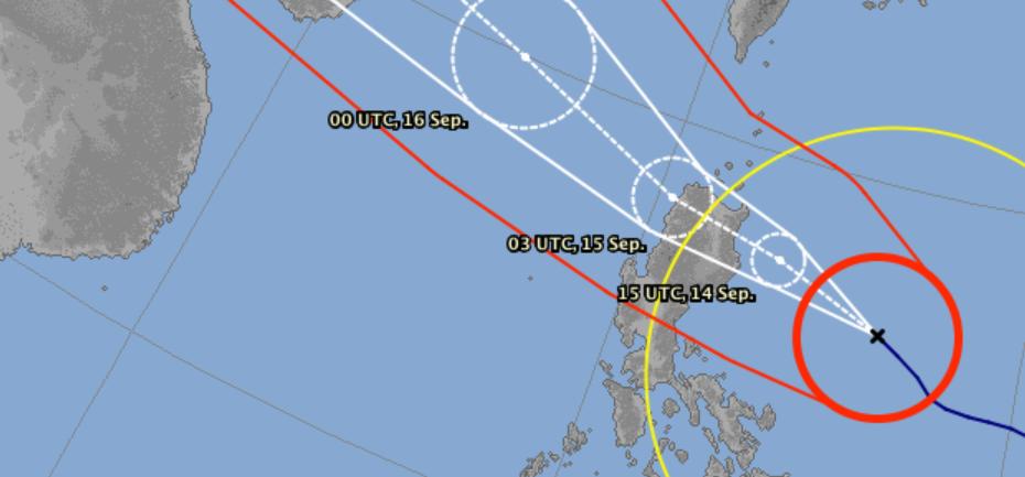 Prévision trajectoire super typhon MANGKHUT ©JMA