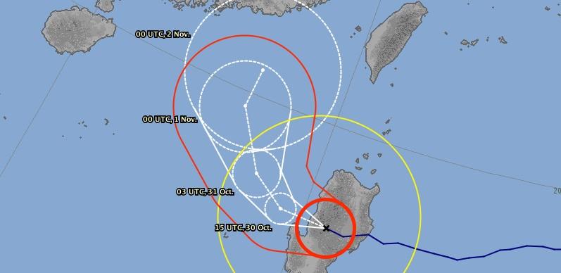 Prévision trajectoire typhon YUTU ©JMA