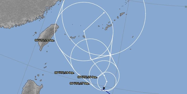 Prévision trajectoire typhon TRAMI ©JMA