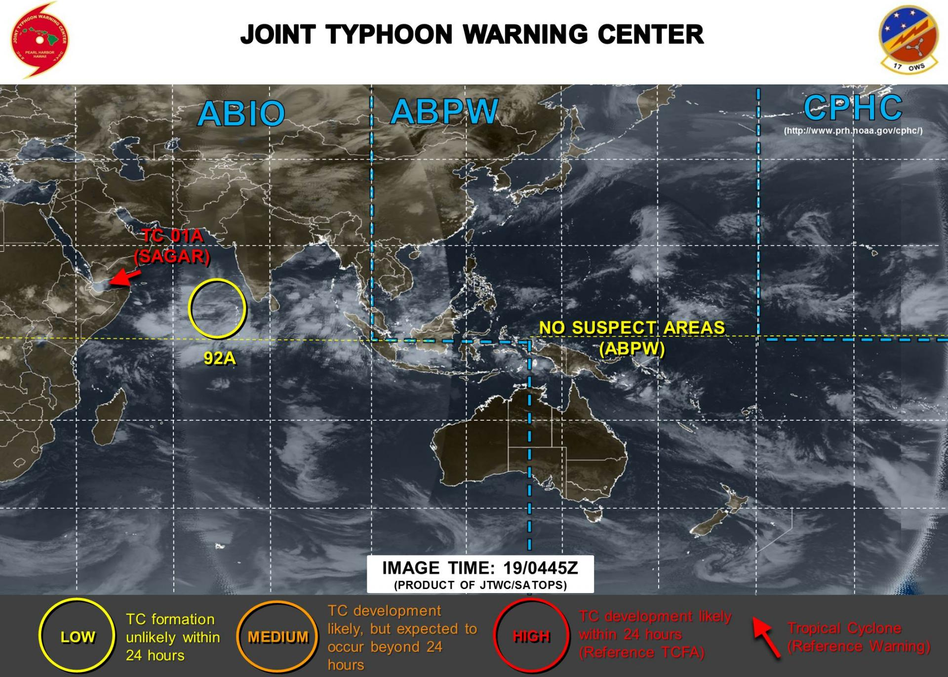 Zone suspecte sous surveillance par la Navy ©JTWC