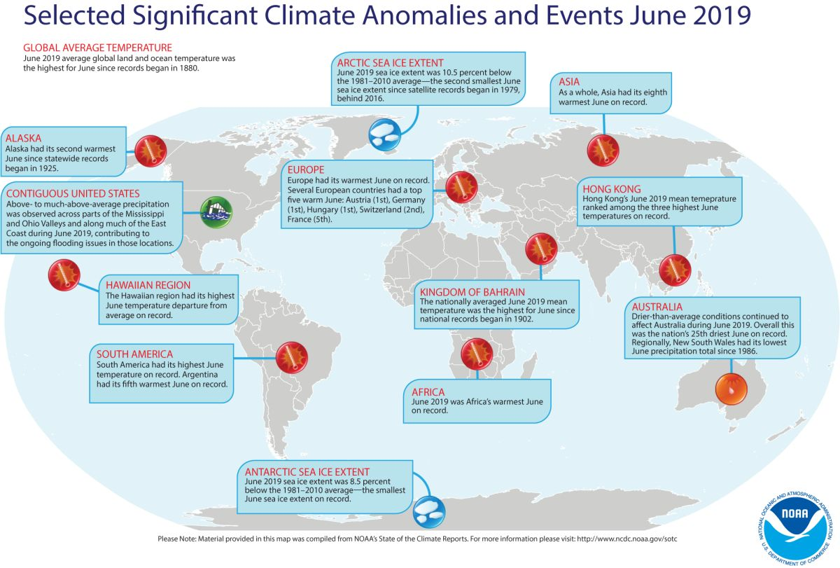 June 2019 global significant climate events map