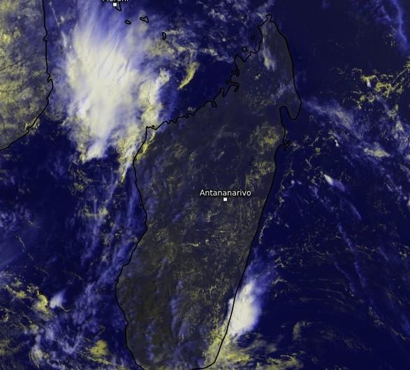 Image satellite zoom sur Madagascar - 08/02/2018 (Kachelmann)