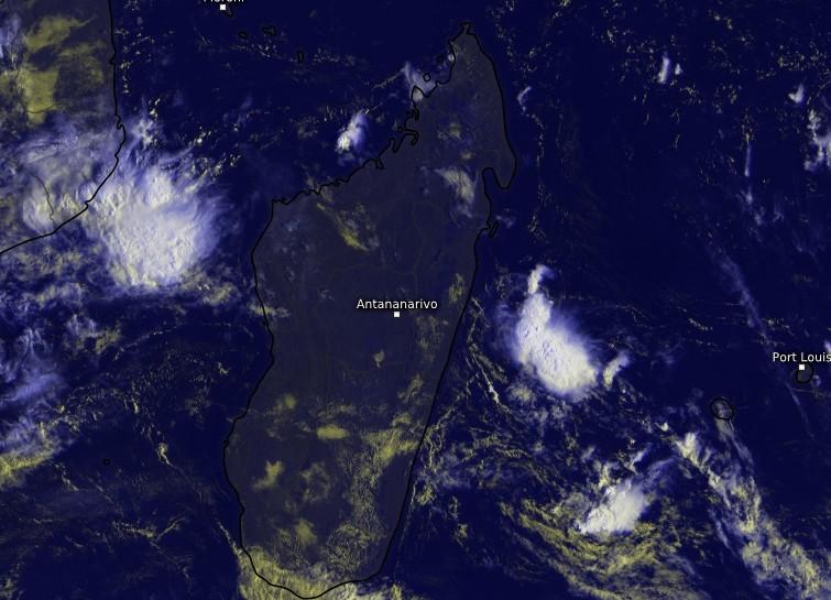Image satellite centrée sur Madagascar - 14/02/2018 à 4z (Kachelmann)