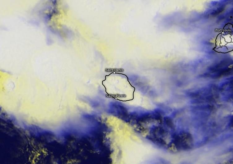 Image satellite zoomée sur la Réunion et Maurice (Kachelmann)