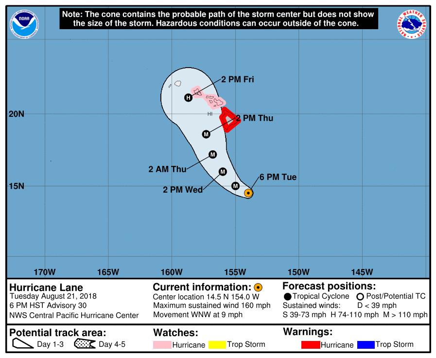 Prévision trajectoire et alerte cyclonique en cours à Hawaï ©NHC