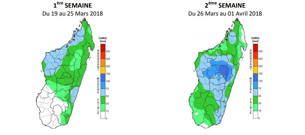 Bulletin de prévision des précipitations à Madagascar valable pour la période du 19 mars au 01 avril ©Météo Madagascar