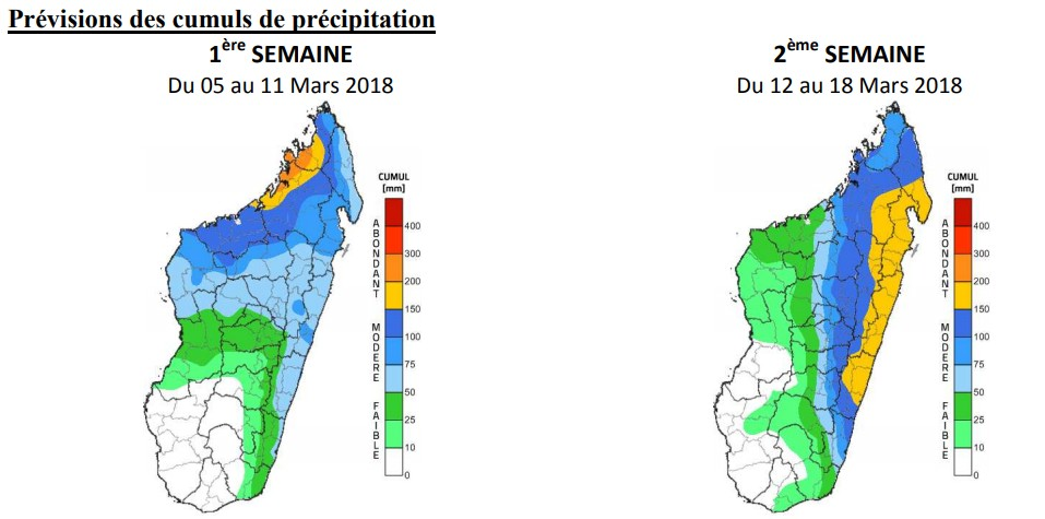 Prévisions des cumuls de précipitation des 2 prochaines semaines ©Météo Madagascar