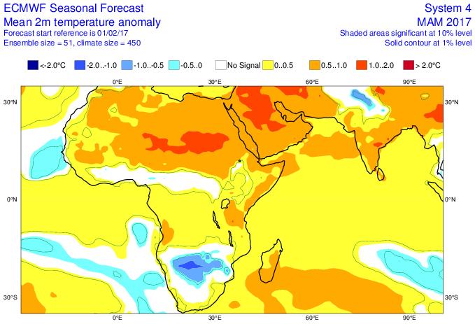 Anomalie de température mars, avril et mai (ECMWF)