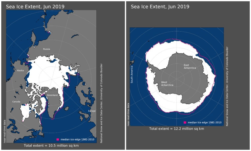 Maps of arctic and antarctic sea ice extent june 2019 noaa ncei