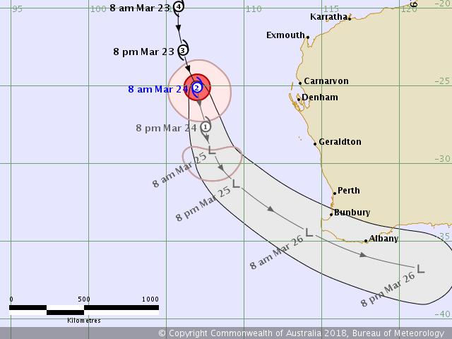MARCUS : prévision trajectoire et intensité ©TCWC Perth