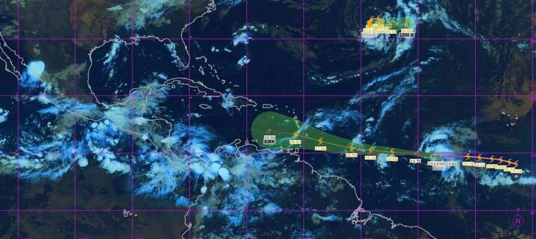Prévision trajectoire Ex tempête tropicale KIRK ©Météo France