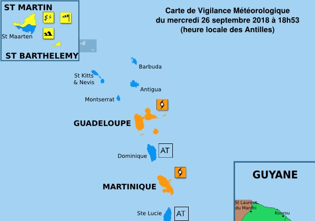 Etat des vigilance cyclone orange ©Météo France Antilles Guyane
