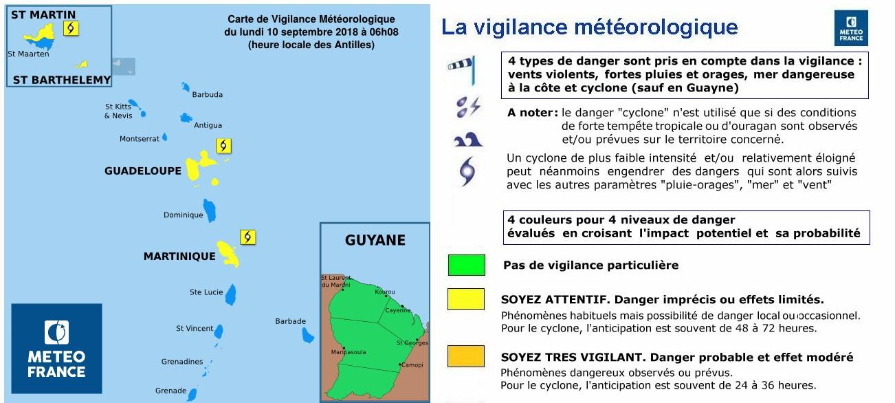 Alerte cyclonique en cours dans les Antilles Française ©Météo France