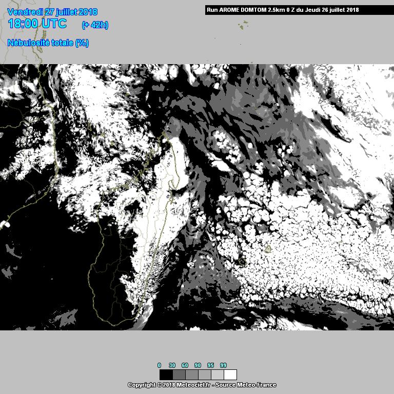 Etat de la couverture nuage simulé par le modèle AROME ©Meteociel