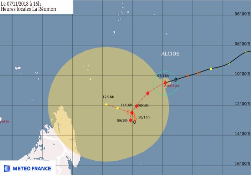 Prévision trajectoire et intensité cyclone tropical ALCIDE