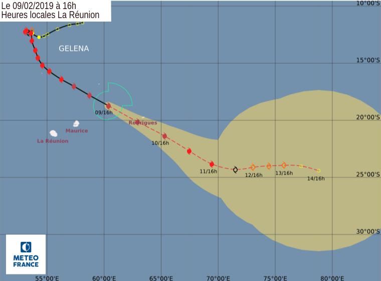 trajectoire cyclone Gelena