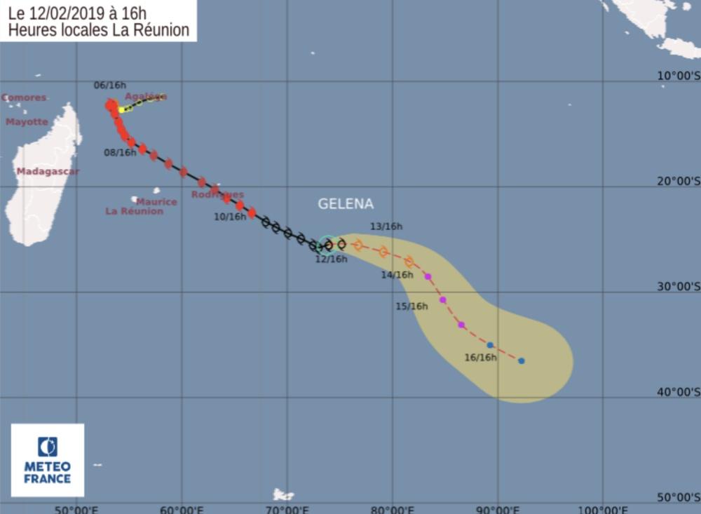Prévision trajectoire et intensité Gelena