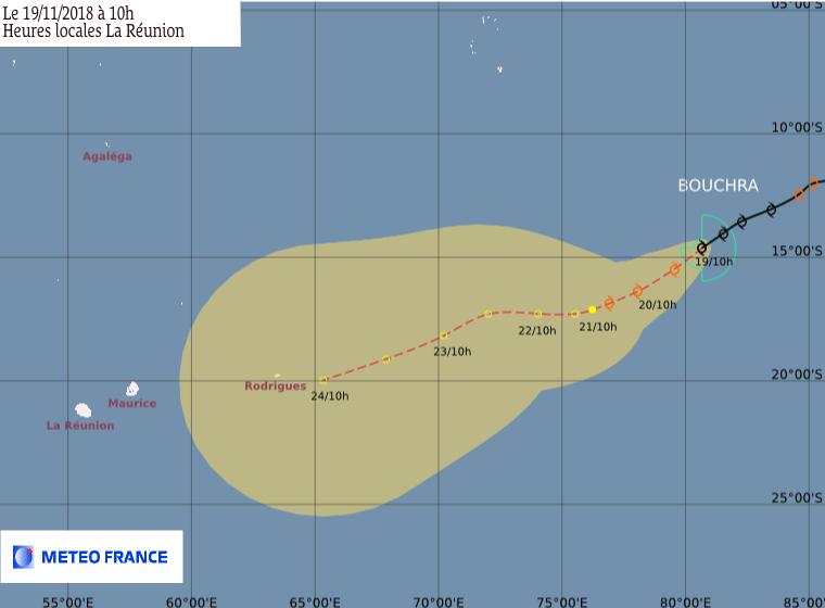 Prévision trajectoire tempête tropicale BOUCHRA