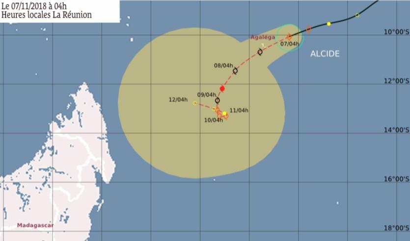 Prévision trajectoire et intensité ALCIDE ©CMRS de la Réunion