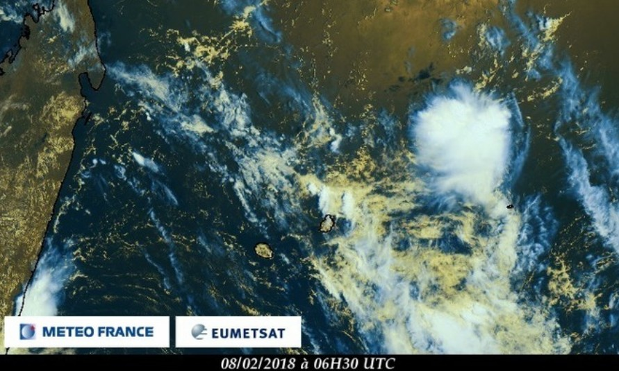 Image satellite zone Mascareignes - 08/02/2018 (Météo France)