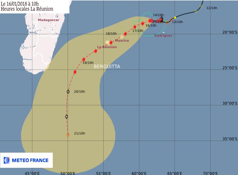 Point du CMRS de la Réunion ce 16/01/2018 à 06z (Météo France)