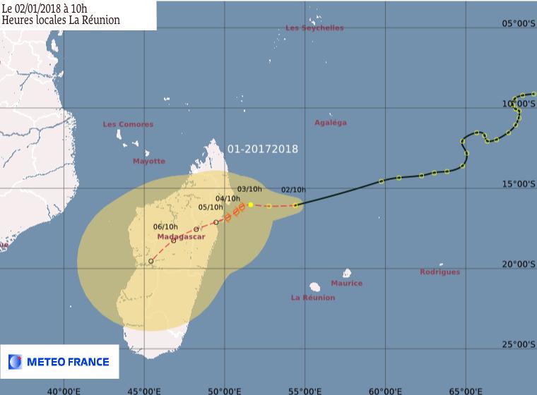 Prévision du CMRS de la Réunion ce mardi 02 janvier 2018 à 10h (Météo France)