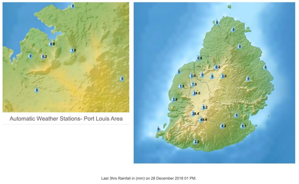 Cumul pluviométrique sur 3h à 13h (loc)