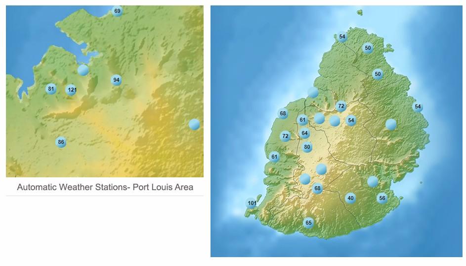 Rafales relevées lors des dernières 24h à l'île Maurice ©MMS