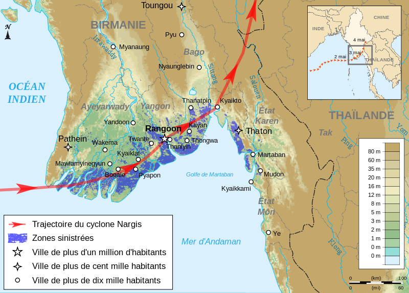 Evolution du cyclone NARGIS sur la BIRMANIE